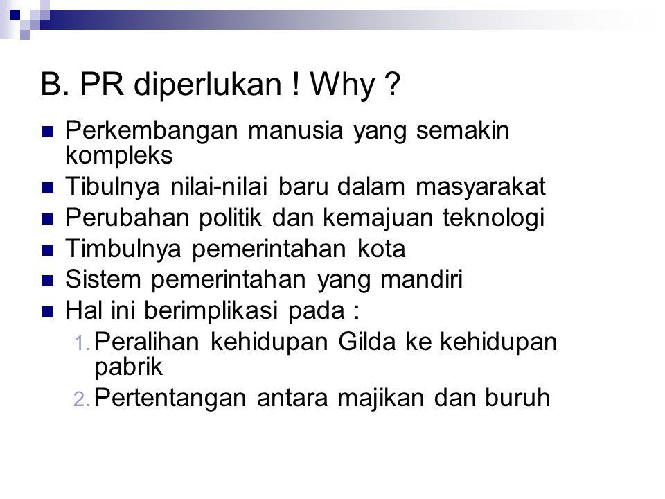 B. PR diperlukan ! Why Perkembangan manusia yang semakin kompleks