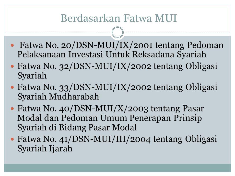 Berdasarkan Fatwa MUI Fatwa No. 20/DSN-MUI/IX/2001 tentang Pedoman Pelaksanaan Investasi Untuk Reksadana Syariah.