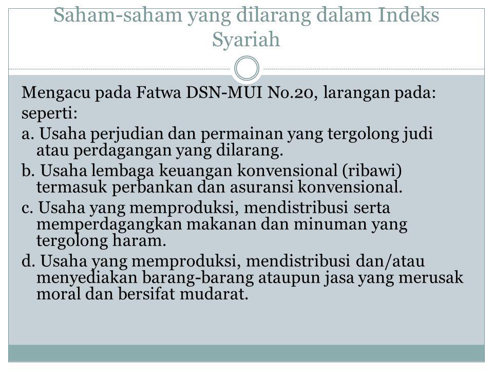 Saham-saham yang dilarang dalam Indeks Syariah