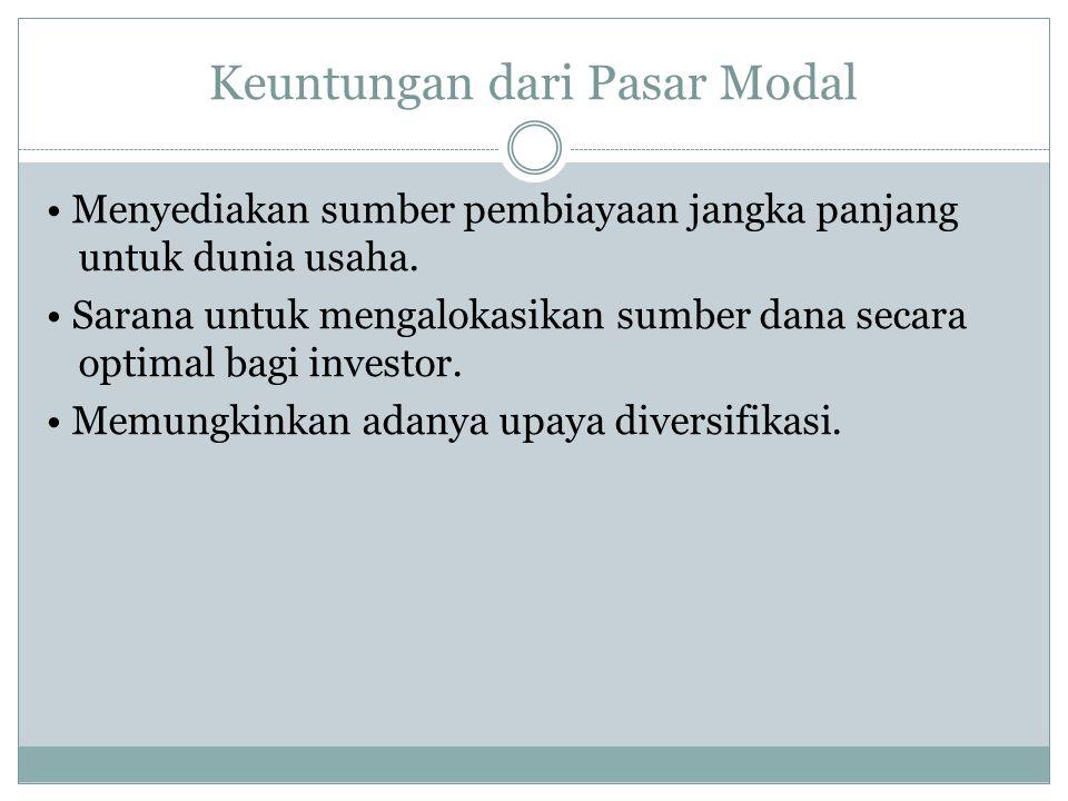 Keuntungan dari Pasar Modal
