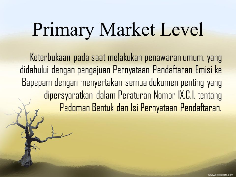 Primary Market Level