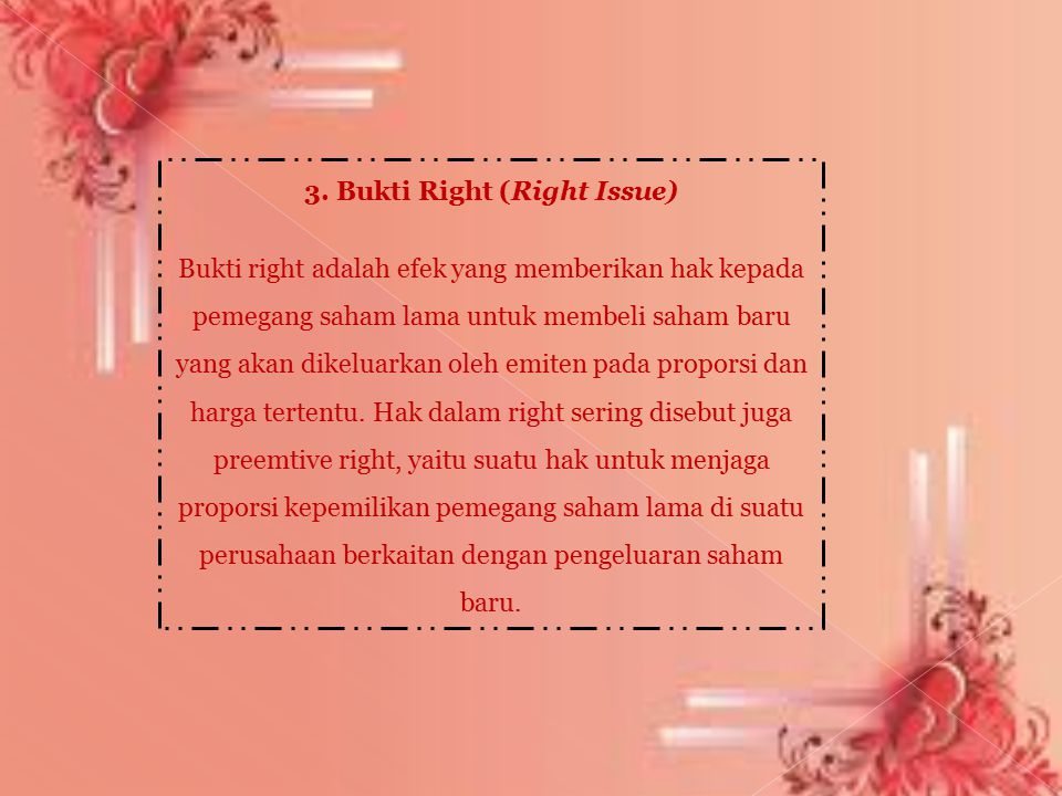 3. Bukti Right (Right Issue)