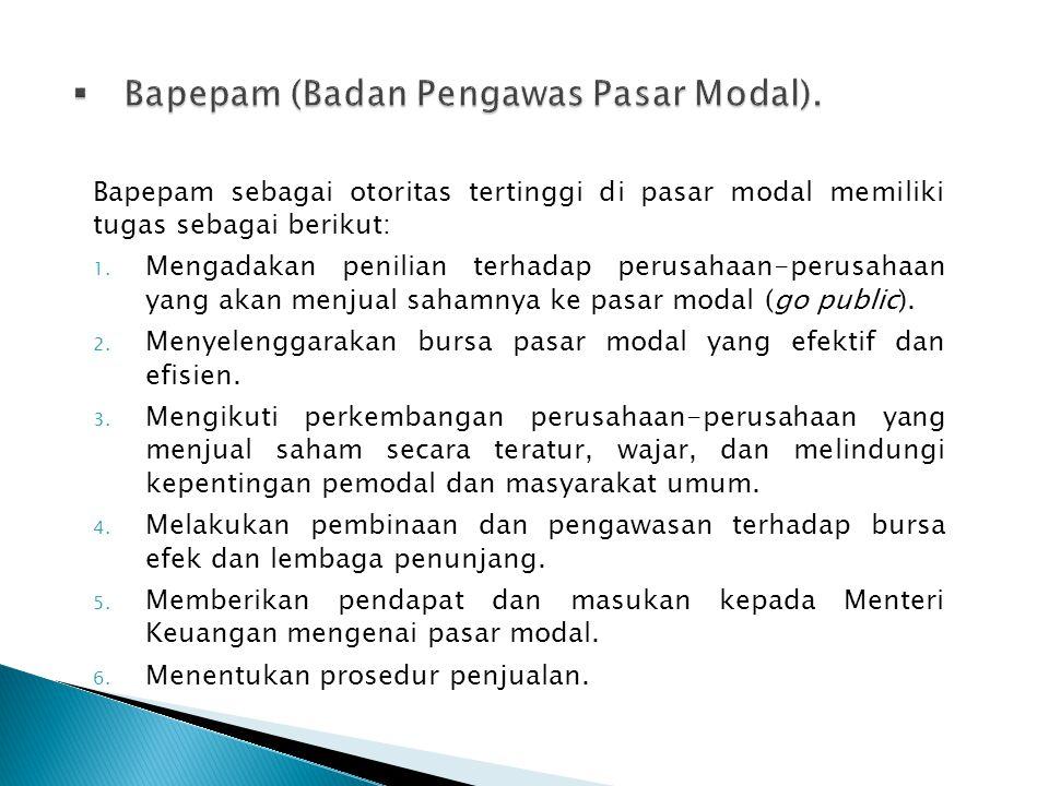 Bapepam (Badan Pengawas Pasar Modal).