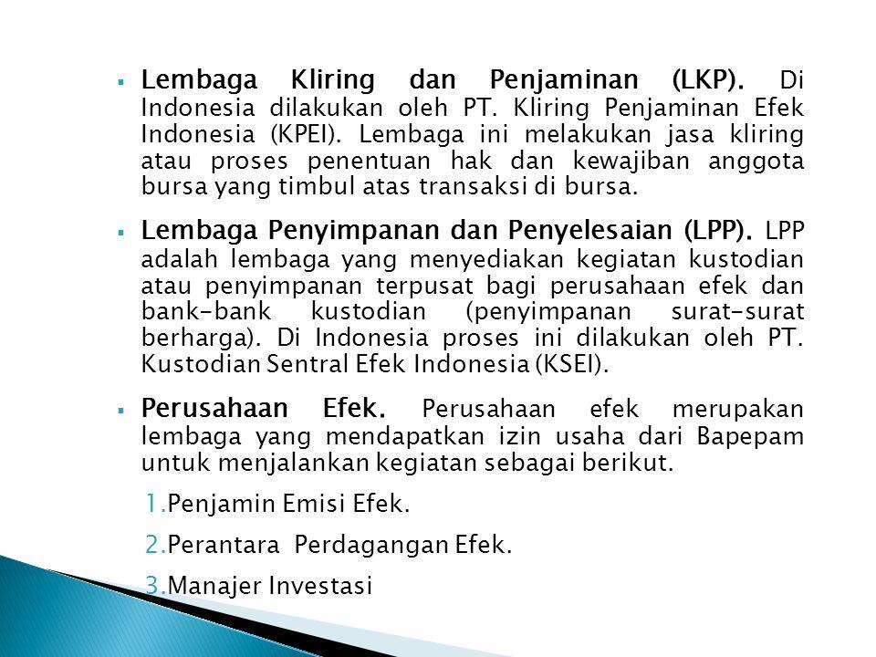Lembaga Kliring dan Penjaminan (LKP). Di Indonesia dilakukan oleh PT