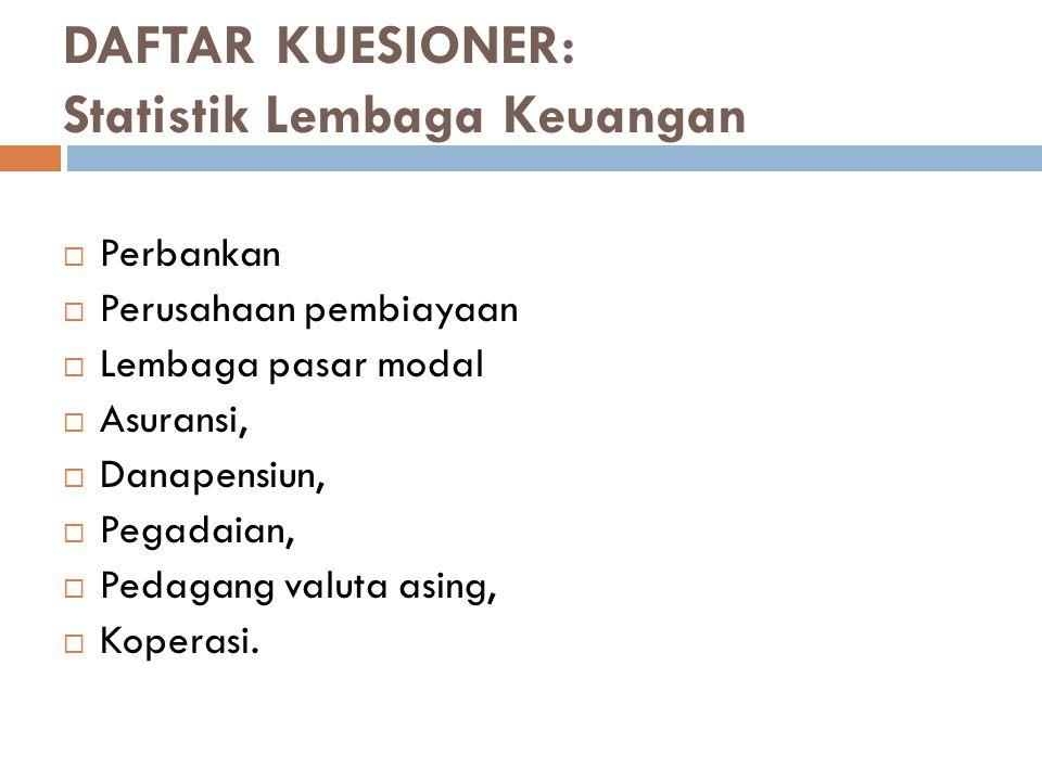 DAFTAR KUESIONER: Statistik Lembaga Keuangan