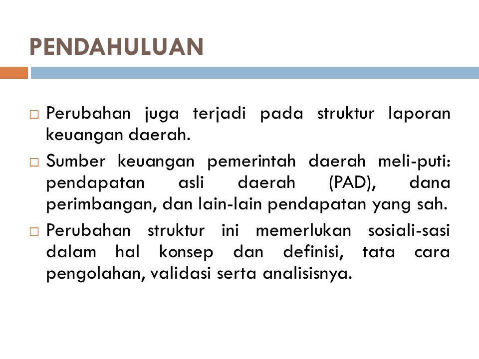 PENDAHULUAN Perubahan juga terjadi pada struktur laporan keuangan daerah.