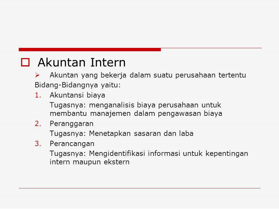 Akuntan Intern Akuntan yang bekerja dalam suatu perusahaan tertentu