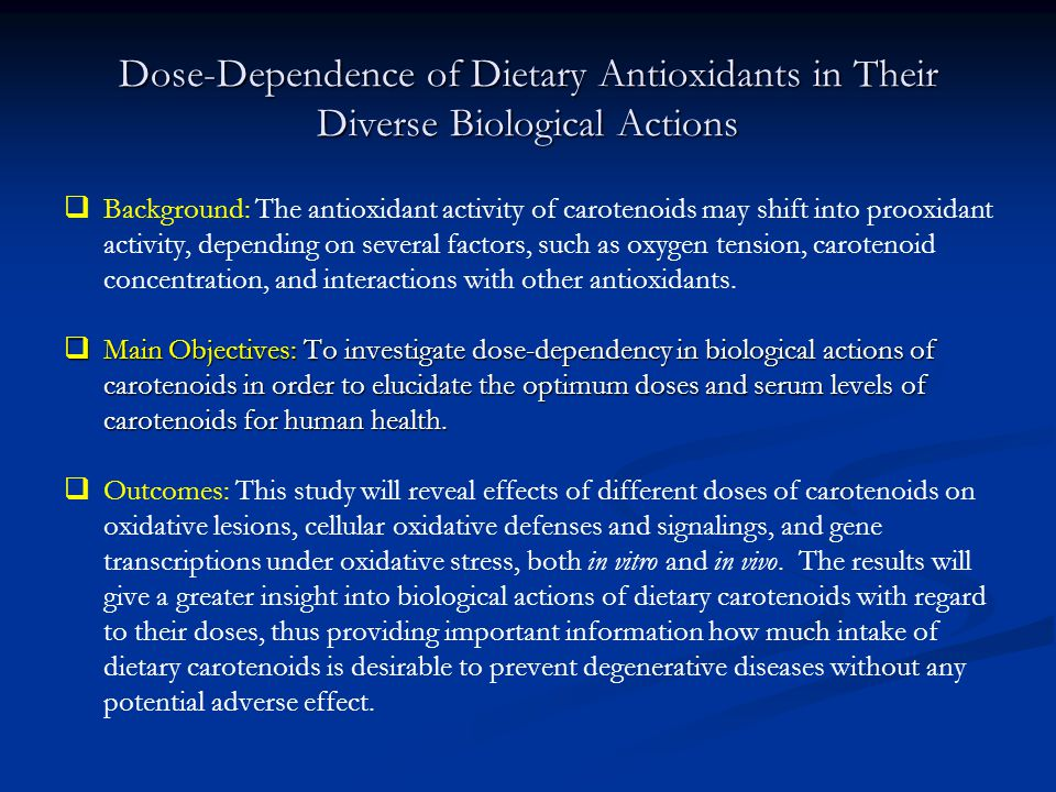 Dose-Dependence of Dietary Antioxidants in Their Diverse Biological Actions