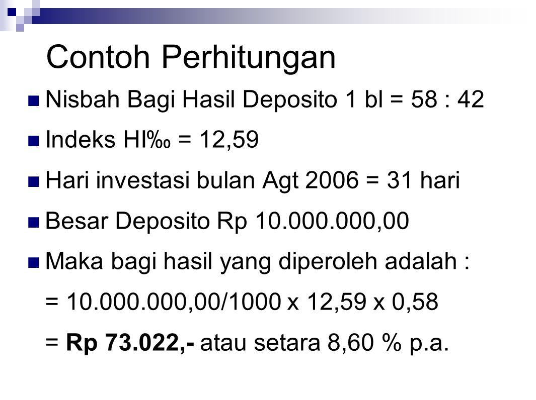 Contoh Perhitungan Nisbah Bagi Hasil Deposito 1 bl = 58 : 42