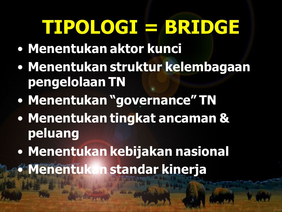TIPOLOGI = BRIDGE Menentukan aktor kunci