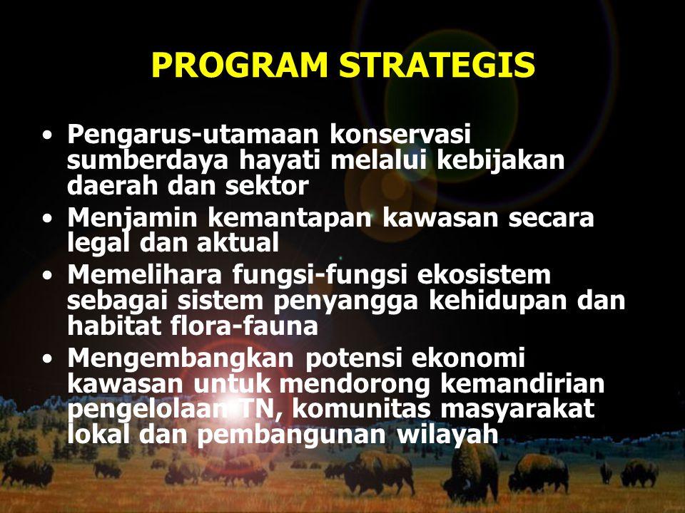 PROGRAM STRATEGIS Pengarus-utamaan konservasi sumberdaya hayati melalui kebijakan daerah dan sektor.