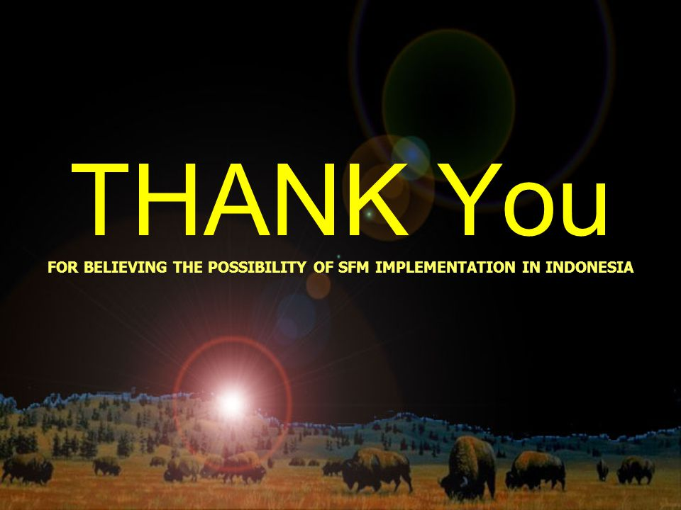 THANK You FOR BELIEVING THE POSSIBILITY OF SFM IMPLEMENTATION IN INDONESIA