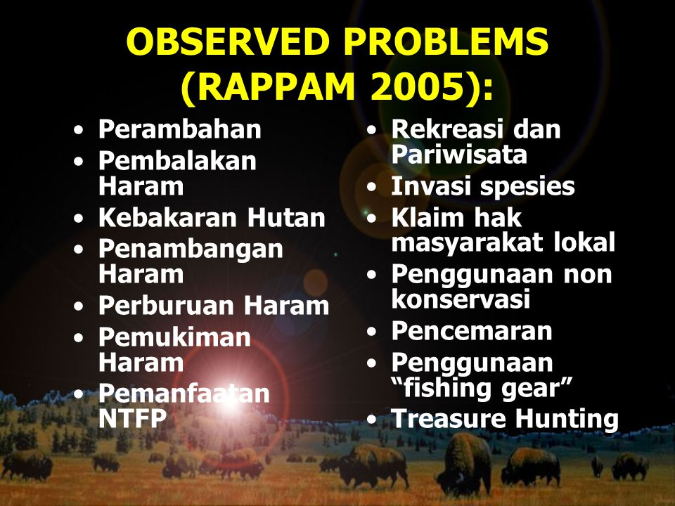 OBSERVED PROBLEMS (RAPPAM 2005):