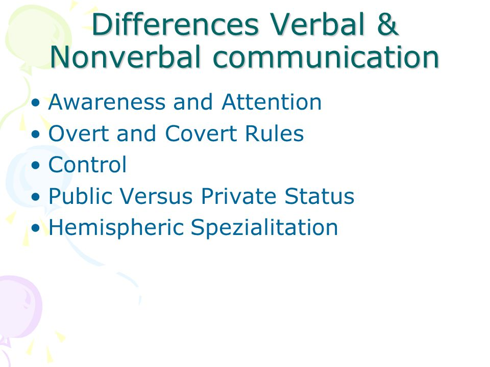 Differences Verbal & Nonverbal communication