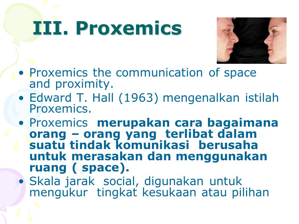 III. Proxemics Proxemics the communication of space and proximity.