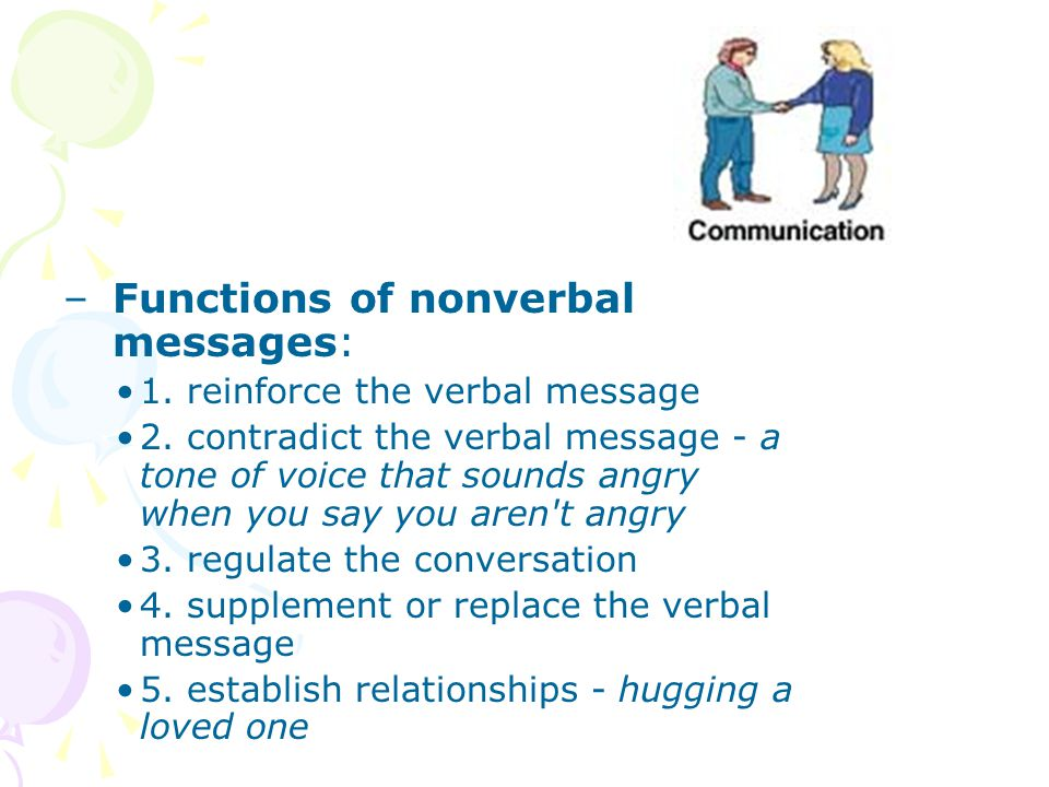 Functions of nonverbal messages: