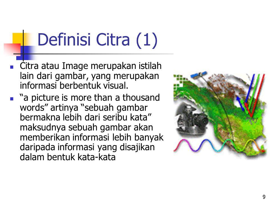 Definisi Citra (1) Citra atau Image merupakan istilah lain dari gambar, yang merupakan informasi berbentuk visual.