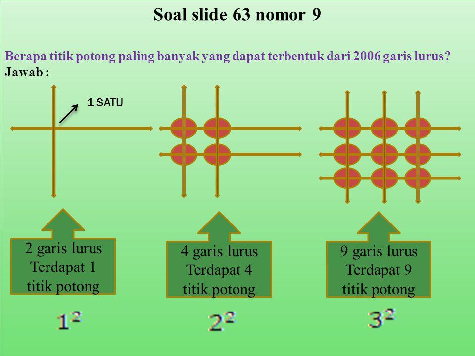 Soal slide 63 nomor 9 2 garis lurus Terdapat 1 titik potong