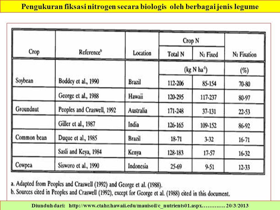 Pengukuran fiksasi nitrogen secara biologis oleh berbagai jenis legume