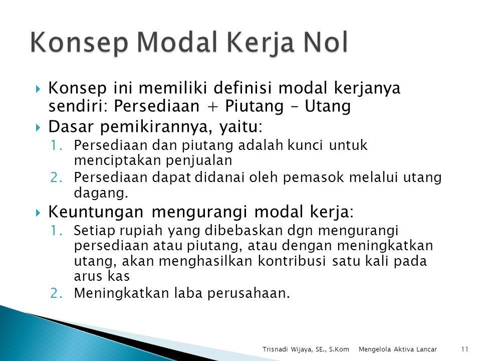 Konsep Modal Kerja Nol Konsep ini memiliki definisi modal kerjanya sendiri: Persediaan + Piutang – Utang.