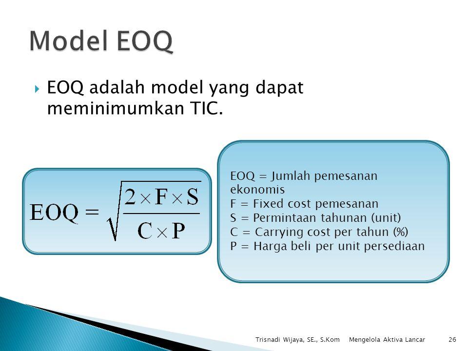 Model EOQ EOQ adalah model yang dapat meminimumkan TIC.