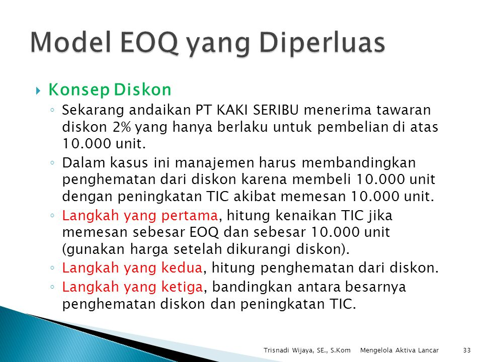 Model EOQ yang Diperluas