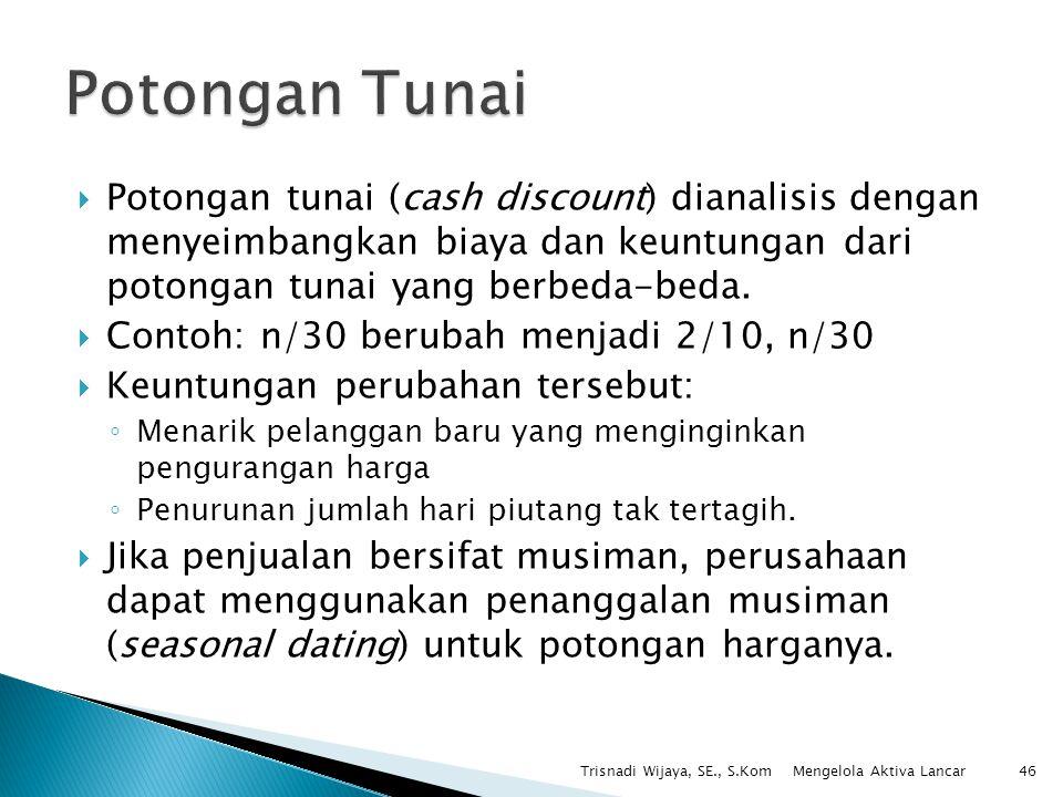 Potongan Tunai Potongan tunai (cash discount) dianalisis dengan menyeimbangkan biaya dan keuntungan dari potongan tunai yang berbeda-beda.