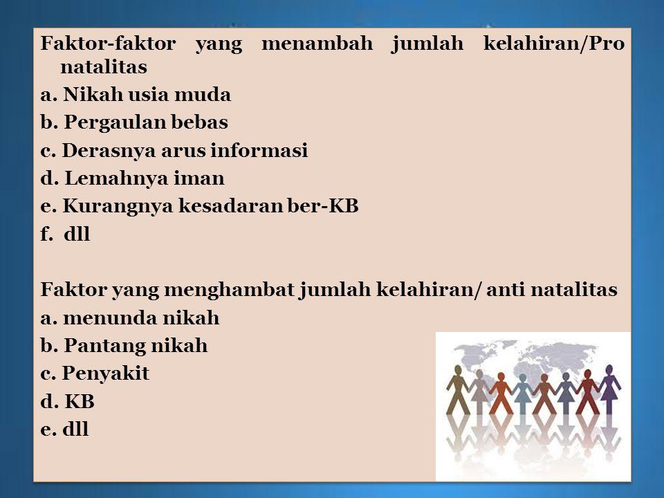 Faktor-faktor yang menambah jumlah kelahiran/Pro natalitas