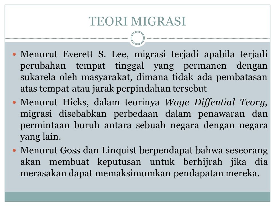 TEORI MIGRASI