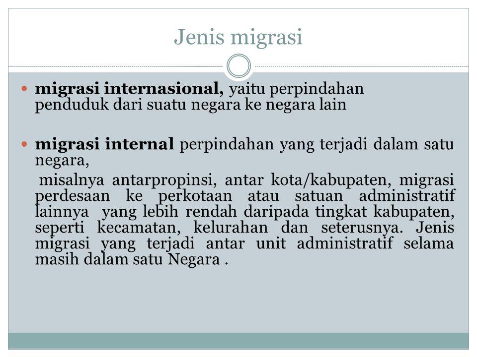 Jenis migrasi migrasi internasional, yaitu perpindahan penduduk dari suatu negara ke negara lain.