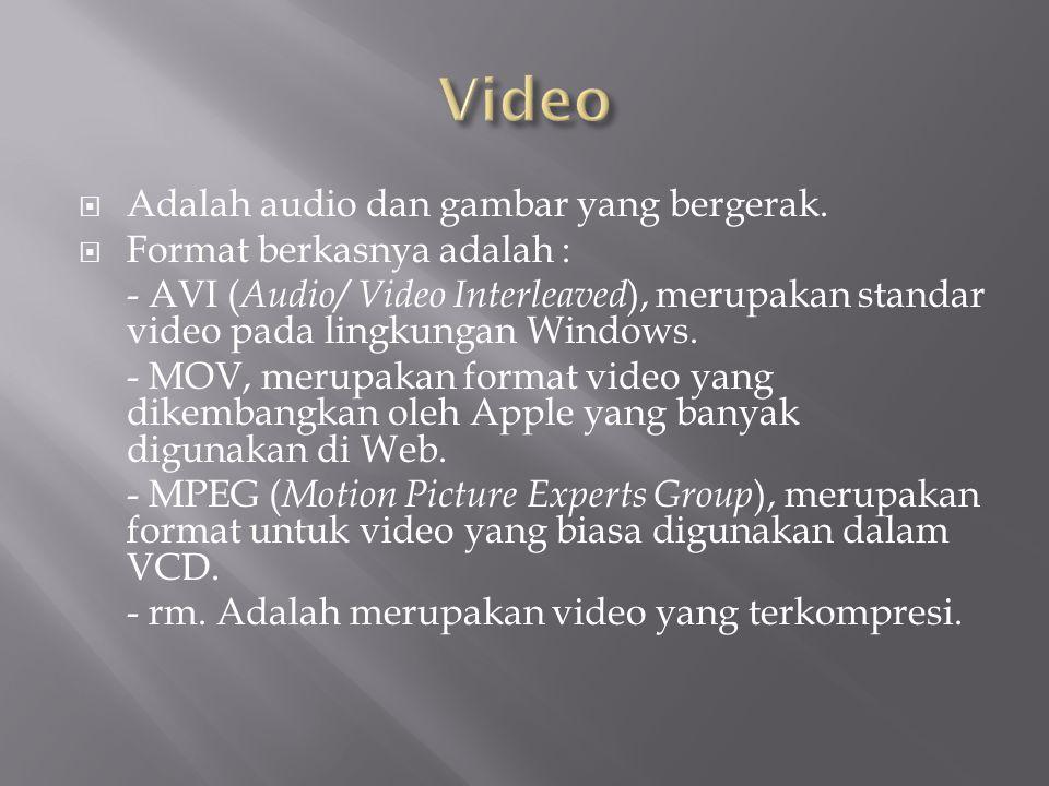 Video Adalah audio dan gambar yang bergerak. Format berkasnya adalah :
