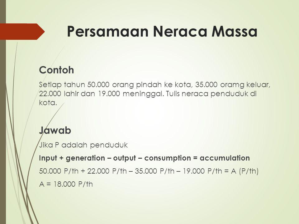Persamaan Neraca Massa