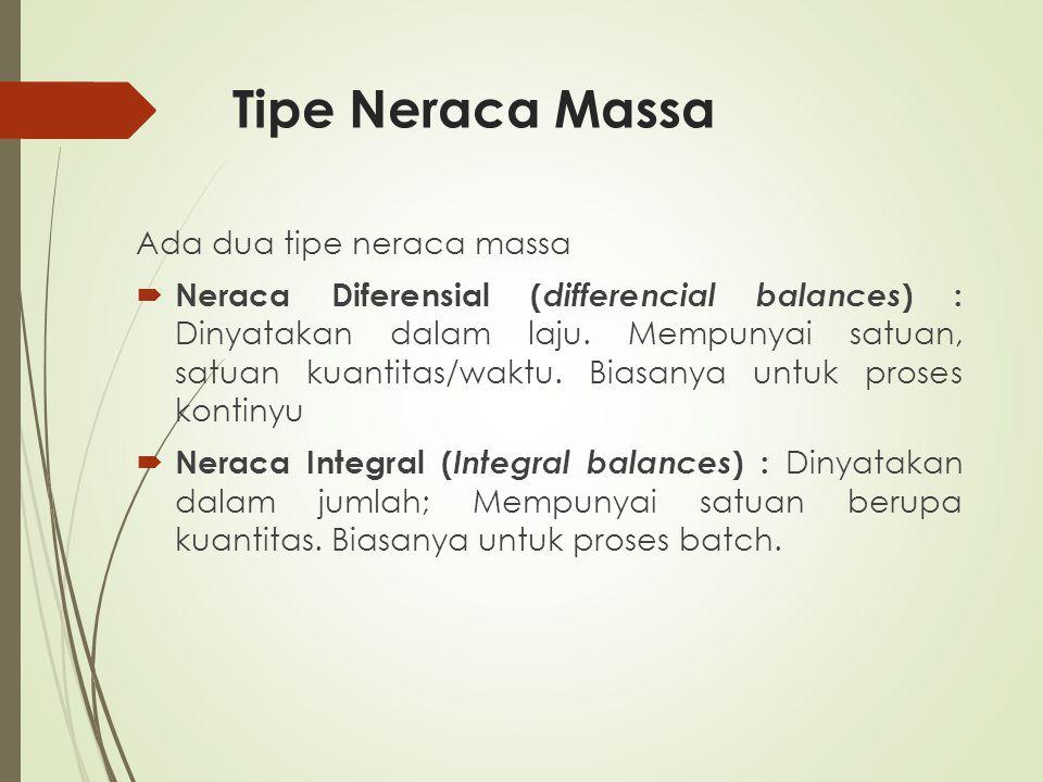 Tipe Neraca Massa Ada dua tipe neraca massa
