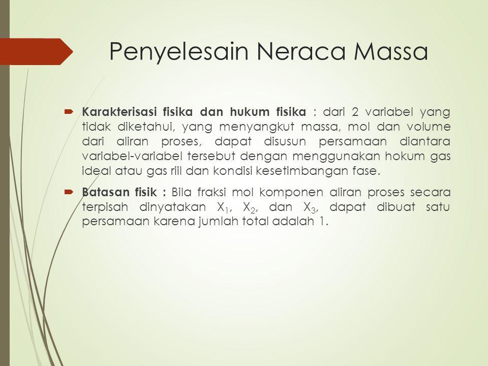 Penyelesain Neraca Massa