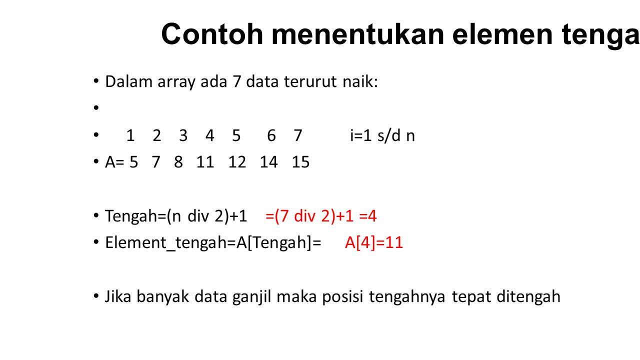 Contoh menentukan elemen tengah