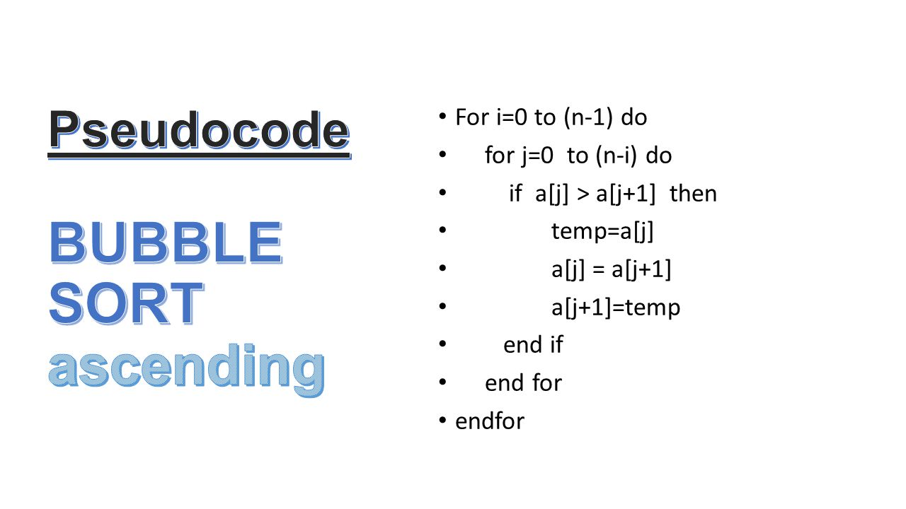Pseudocode BUBBLE SORT ascending