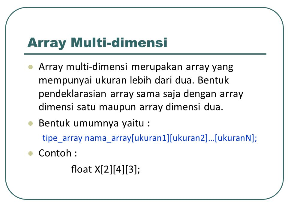 Array Multi-dimensi