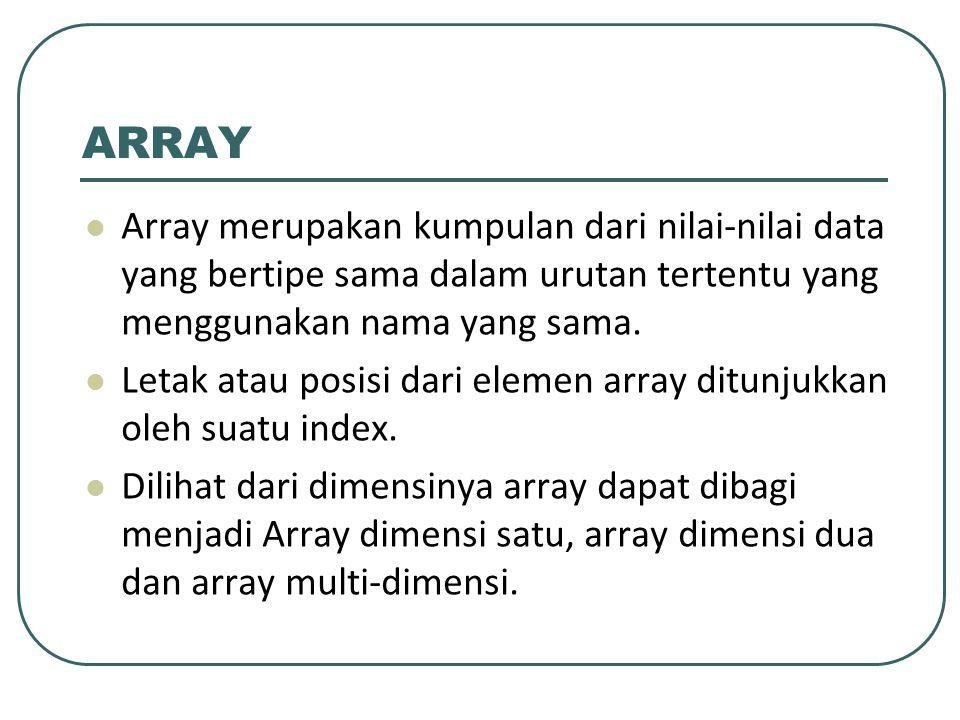 ARRAY Array merupakan kumpulan dari nilai-nilai data yang bertipe sama dalam urutan tertentu yang menggunakan nama yang sama.