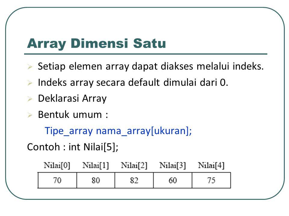 Array Dimensi Satu Setiap elemen array dapat diakses melalui indeks.