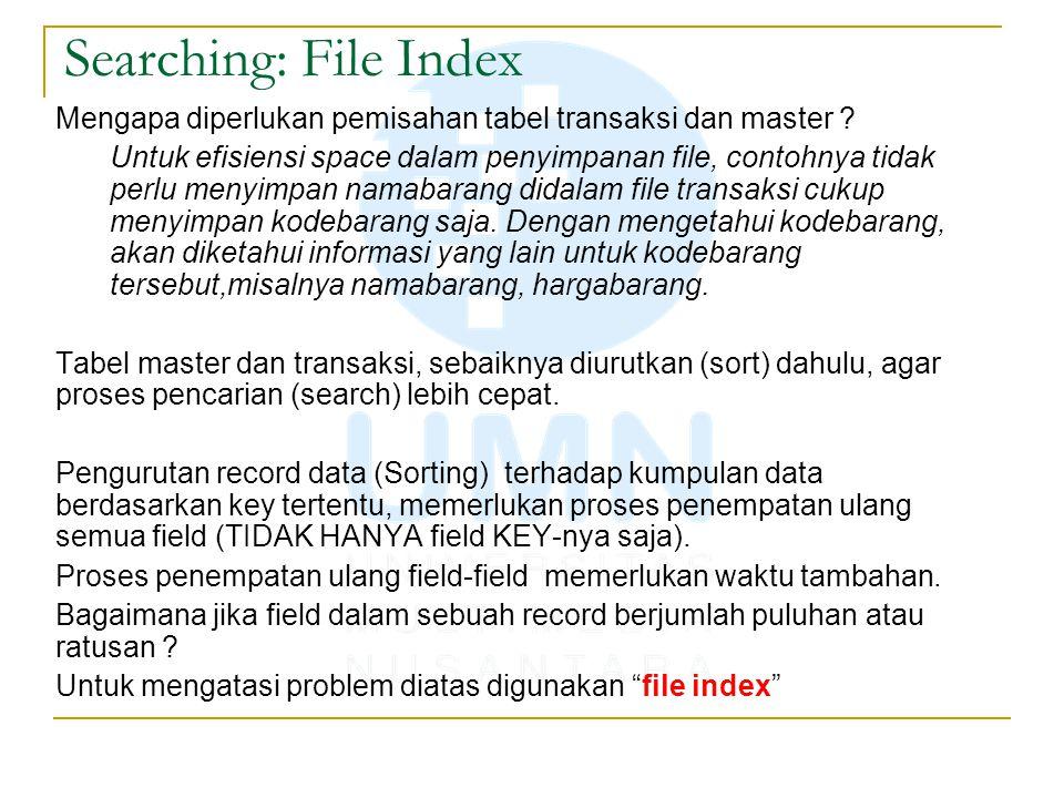 Searching: File Index Mengapa diperlukan pemisahan tabel transaksi dan master