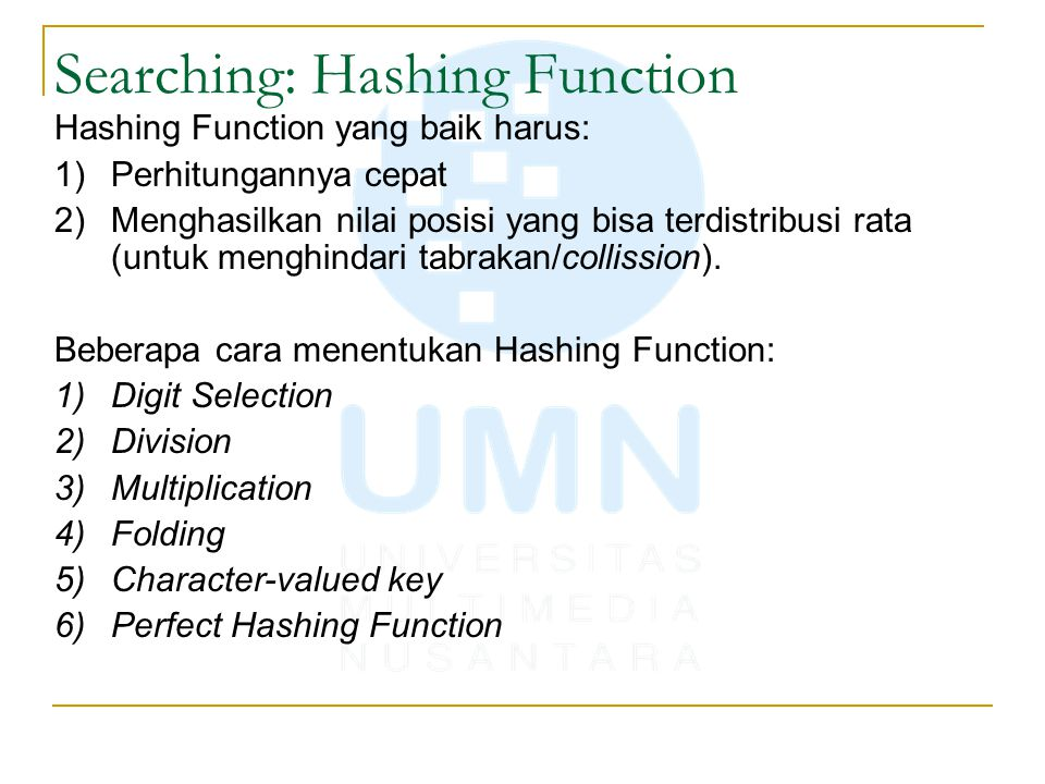 Searching: Hashing Function