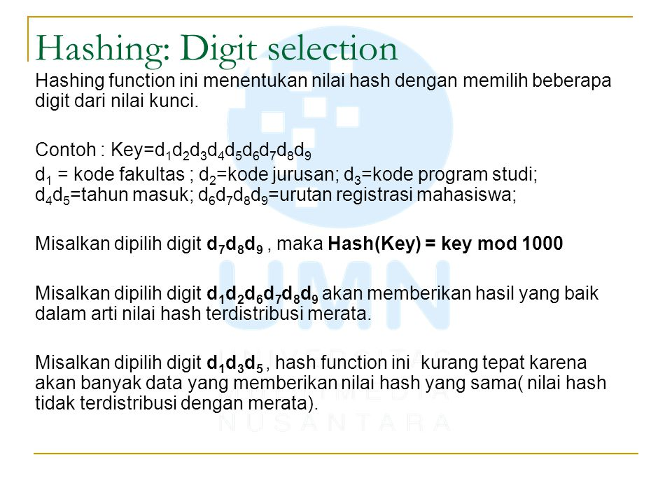 Hashing: Digit selection