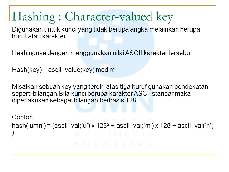 Hashing : Character-valued key