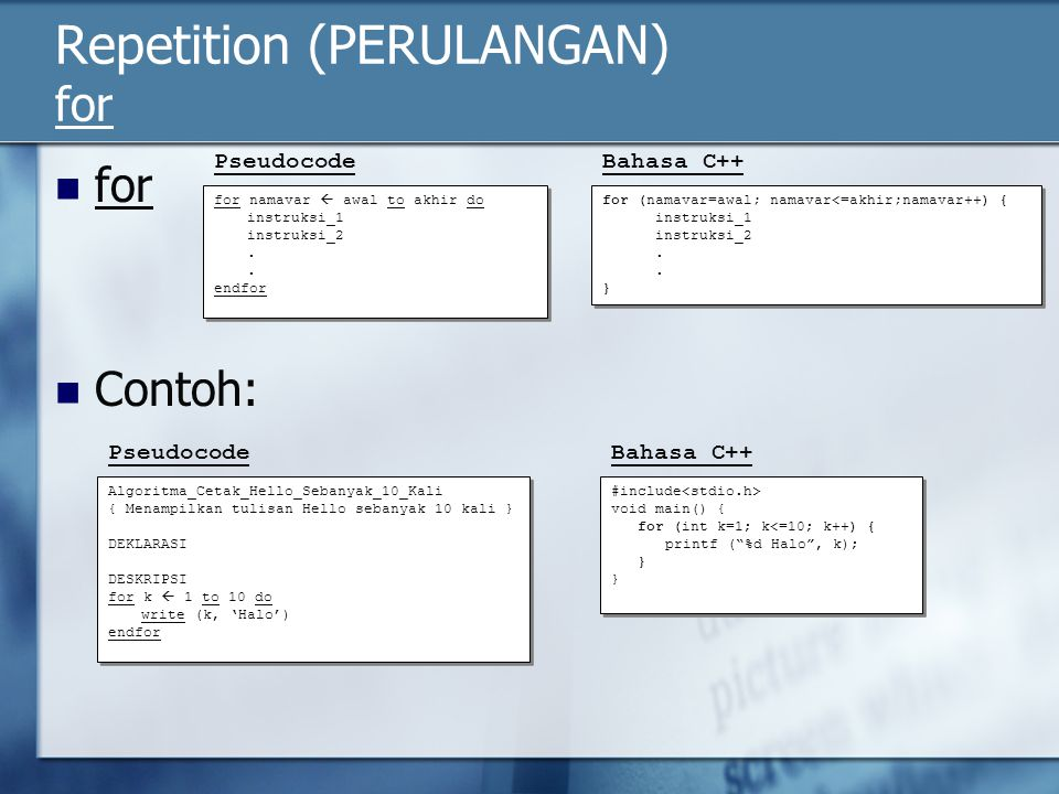 Repetition (PERULANGAN) for