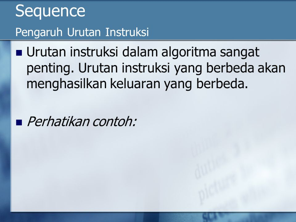 Sequence Pengaruh Urutan Instruksi