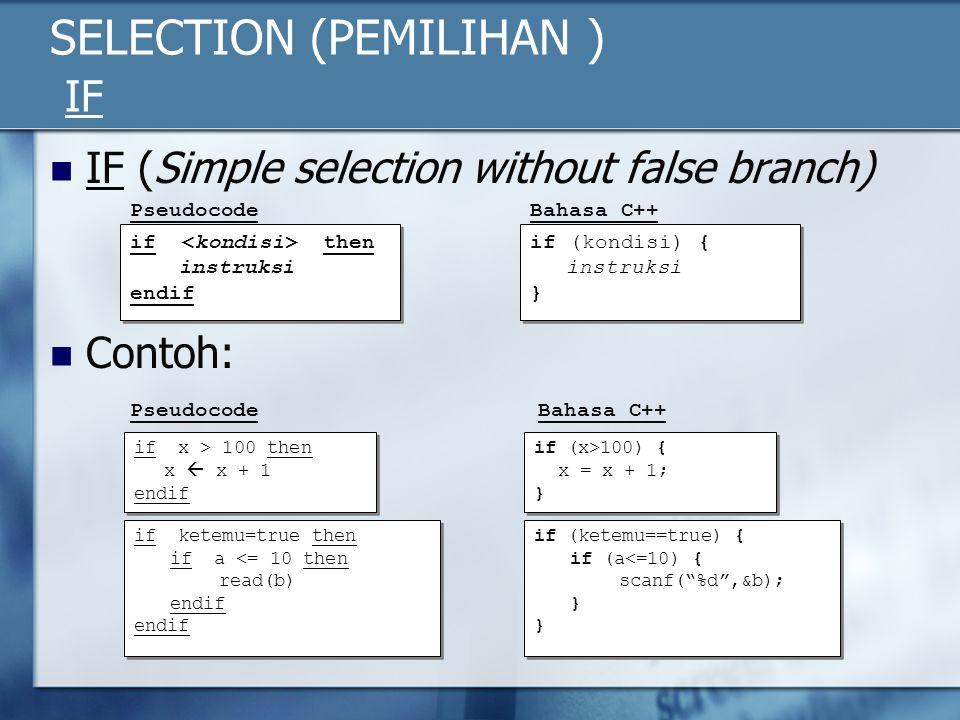 SELECTION (PEMILIHAN ) IF