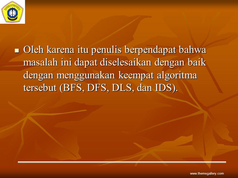 Oleh karena itu penulis berpendapat bahwa masalah ini dapat diselesaikan dengan baik dengan menggunakan keempat algoritma tersebut (BFS, DFS, DLS, dan IDS).