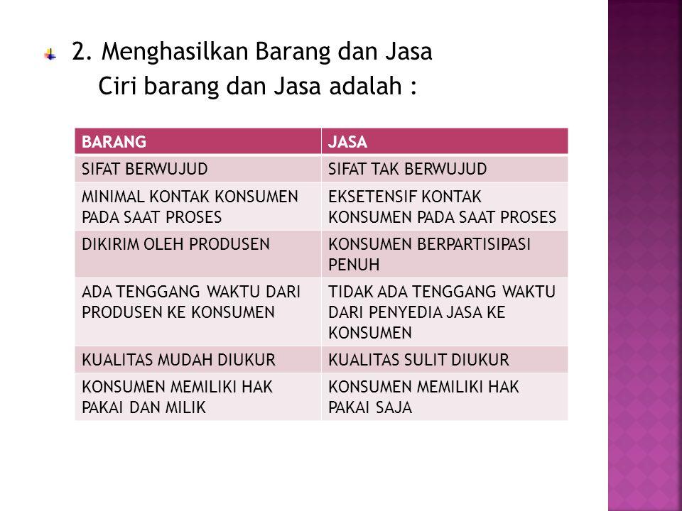2. Menghasilkan Barang dan Jasa Ciri barang dan Jasa adalah :