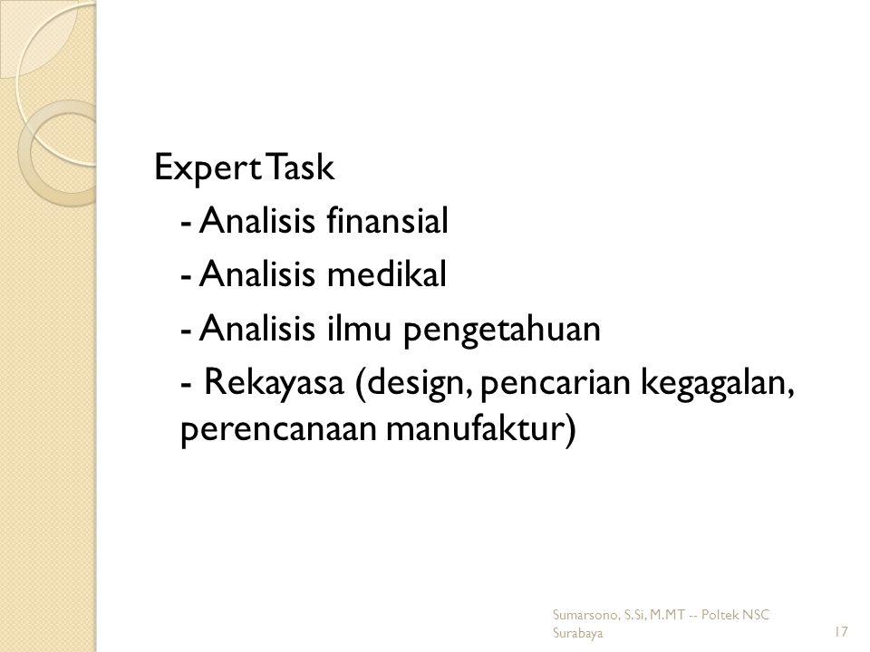 Expert Task - Analisis finansial - Analisis medikal - Analisis ilmu pengetahuan - Rekayasa (design, pencarian kegagalan, perencanaan manufaktur)