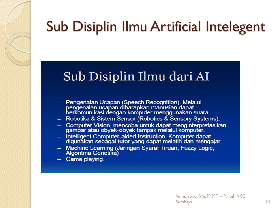 Sub Disiplin Ilmu Artificial Intelegent